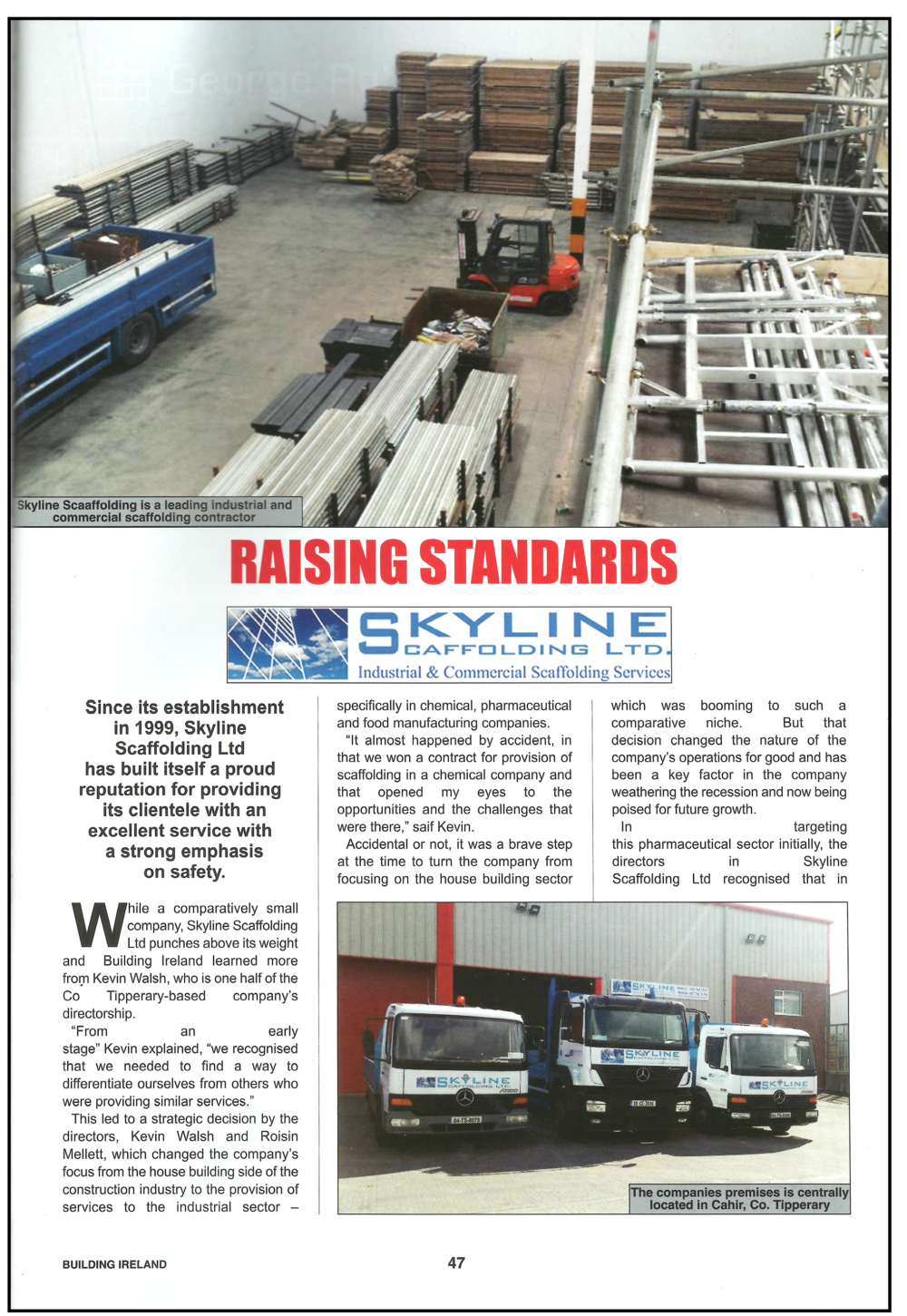Skyline Scaffolding article Building Ireland 2018 page 1