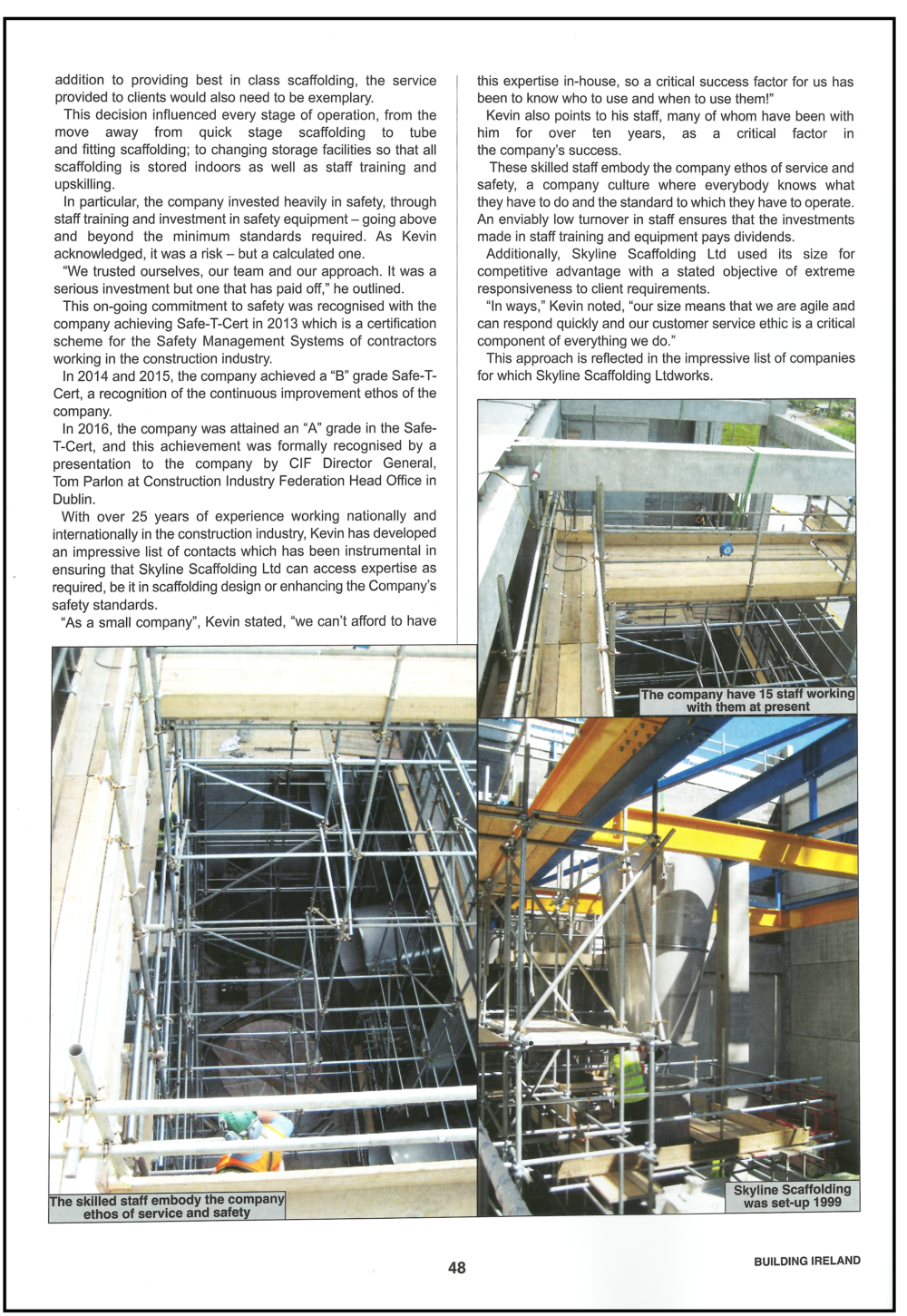 Skyline Scaffolding article Building Ireland 2018 page 2