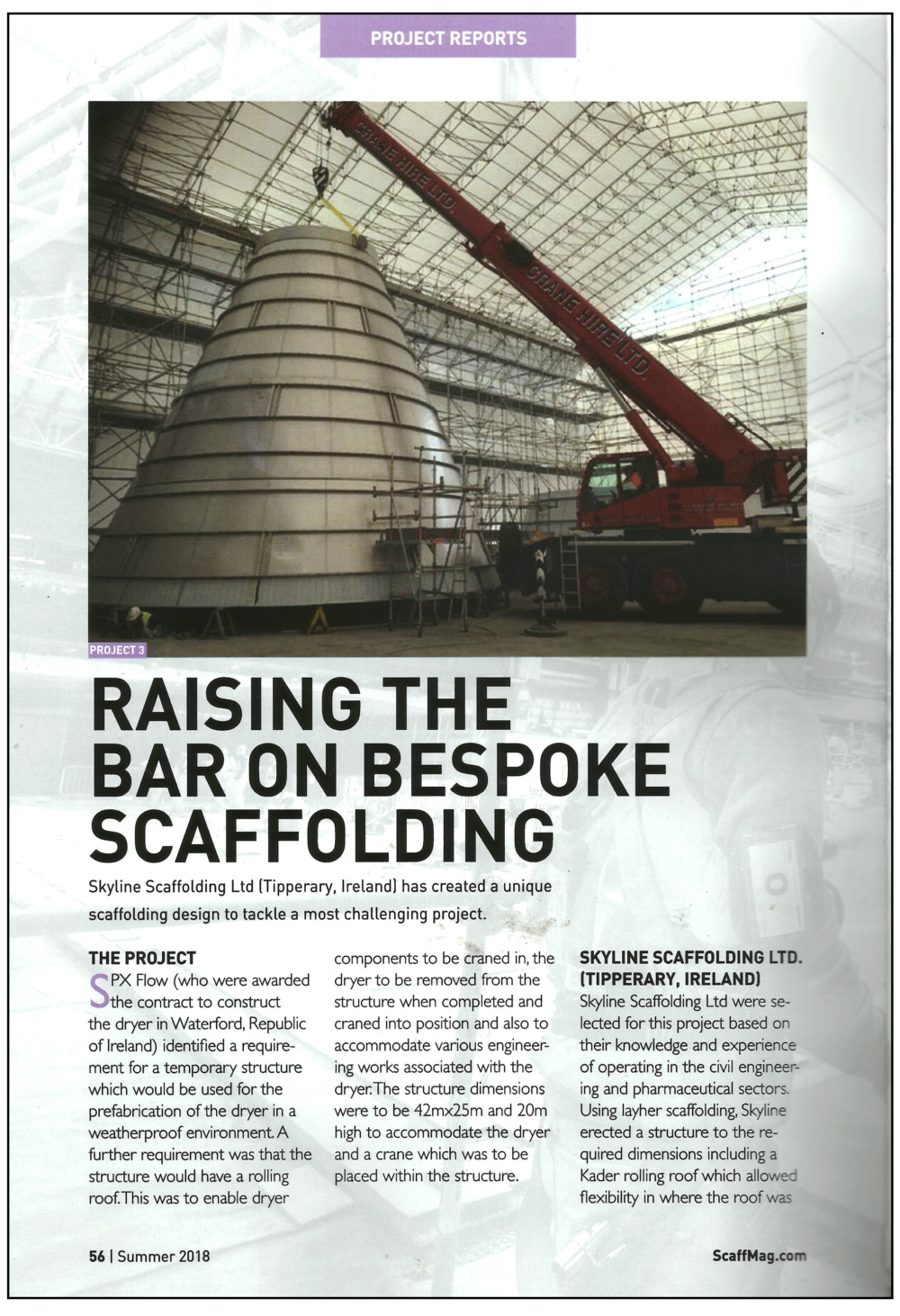 Skyline Scaffolding article ScaffMag 2018 page 1